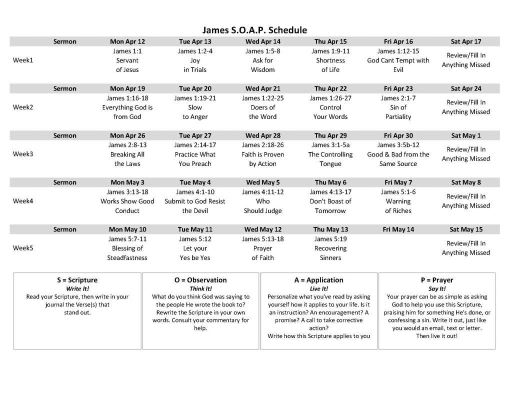 Genesis SOAP Schedule
