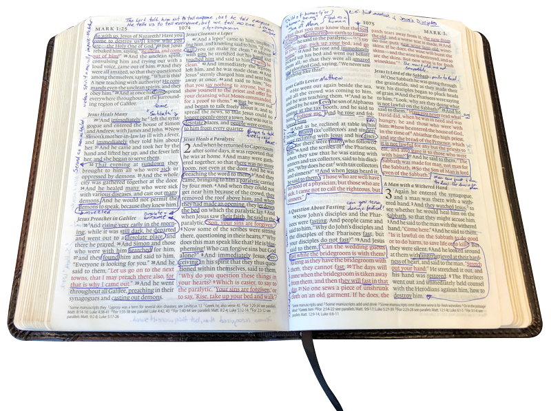 Photo of Open Bible with Markings
