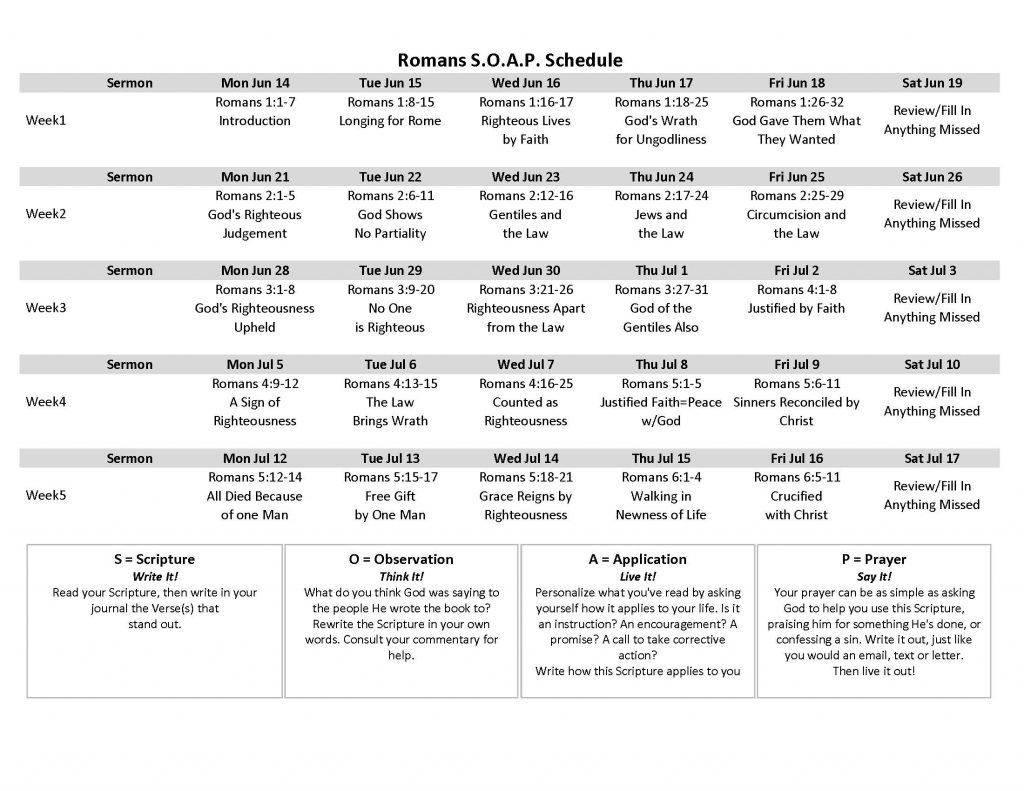 Image of Romans SOAP Schedule