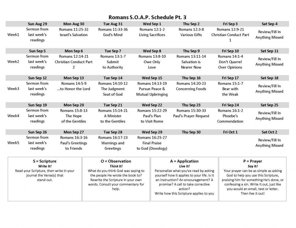 Image of Romans SOAP Schedule part 3